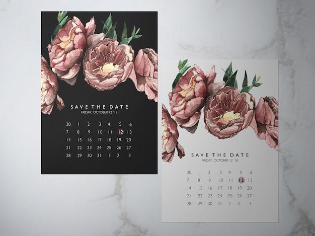 Reserva de boda la fecha, una tarjeta de tema de peonía roja de flores enfrentadas