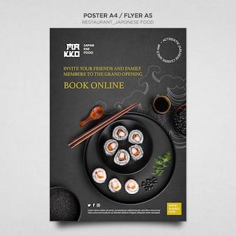 Reserva online tu plantilla de impresión de cartel de plato de sushi