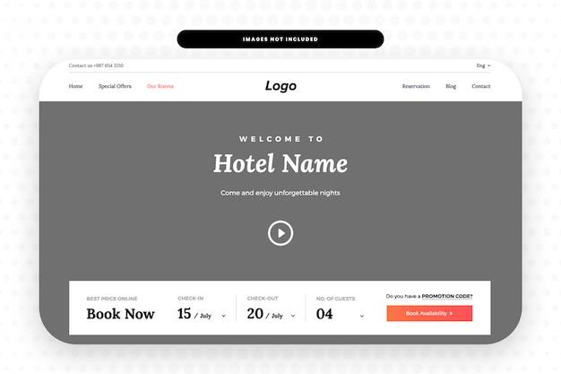 Reserve la página de destino del hotel