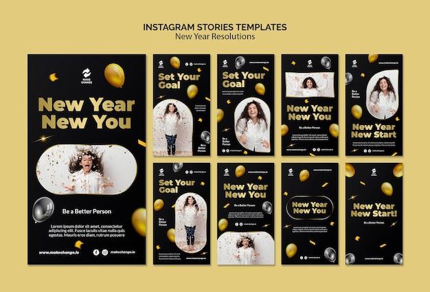 Resoluciones de año nuevo historias de instagram con detalles dorados.