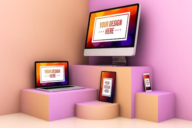 Responsieve apparaten op surrealistisch kleurrijk podiummodel