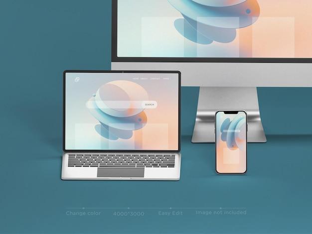 Responsieve apparaten website mockup 3d-rendering