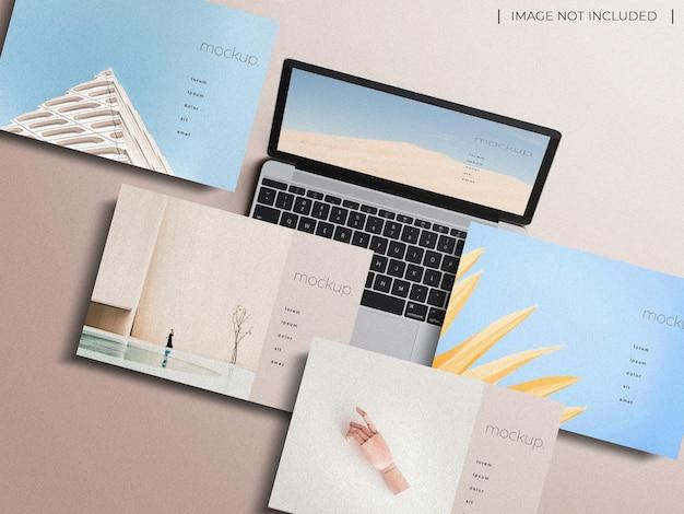 Responsieve laptop multi-apparaat scherm website presentatie mockup concept bovenaanzicht geïsoleerd