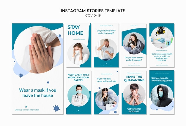 Resta a casa covid-19 modello di storie instagram