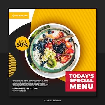 Restaurant banner en eten menu sociale media post sjabloon