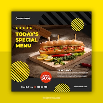 Restaurant banner en eten menu sociale media post sjabloon
