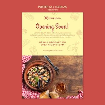 Restaurant binnenkort poster sjabloon