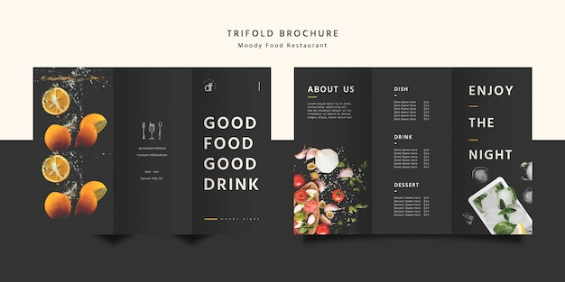 Restaurant eten driebladige brochure