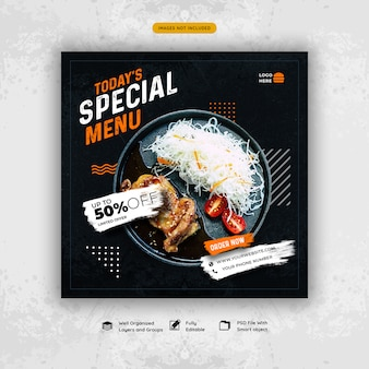 Restaurant eten menu sociale media sjabloon voor spandoek