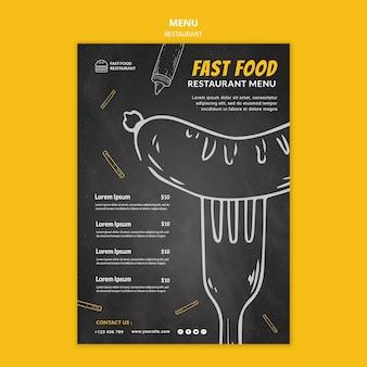 Restaurant fastfood menusjabloon