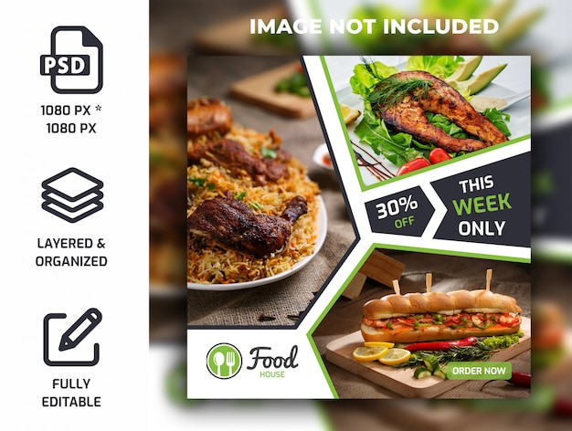 Restaurant food social media post banner template psd