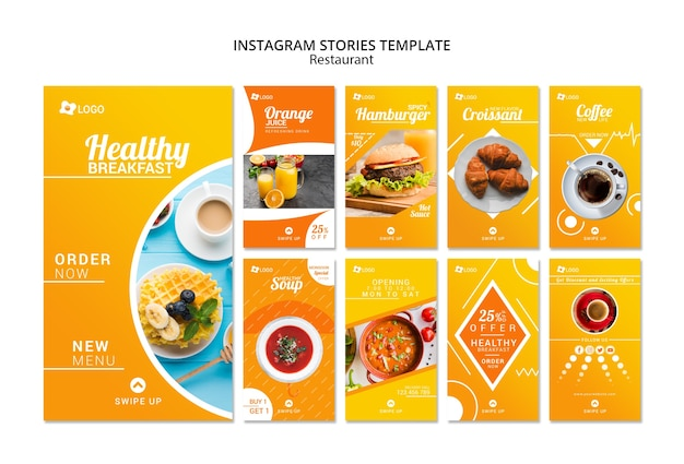Restaurant instagram promotieverhalen sjabloon