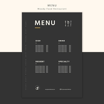 Restaurant menu selectie en aanbiedingen