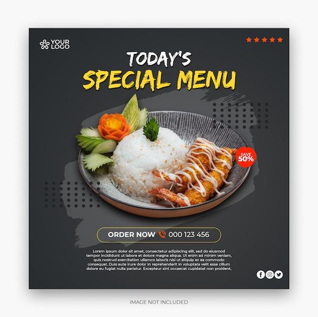 Restaurant menu vierkante banner