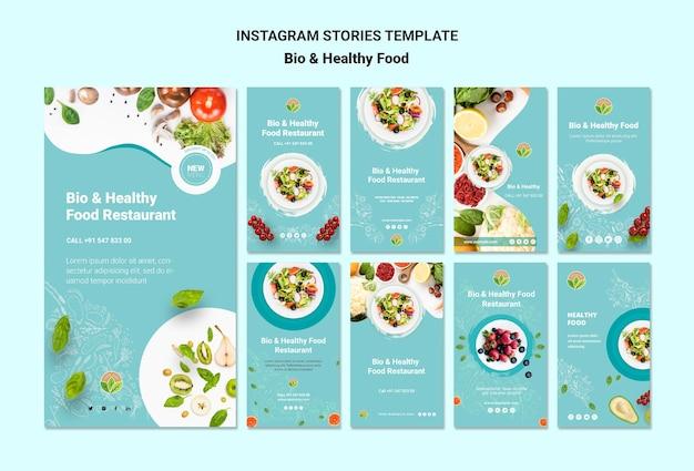 Restaurant met gezond voedsel instagram verhalen