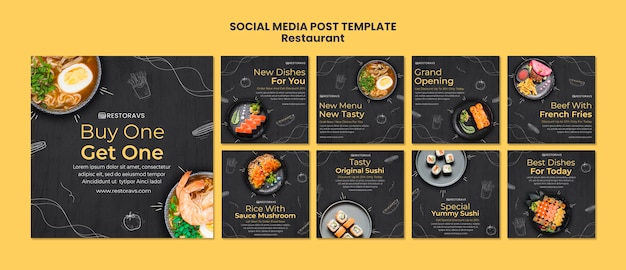 Restaurant opening social media postsjabloon