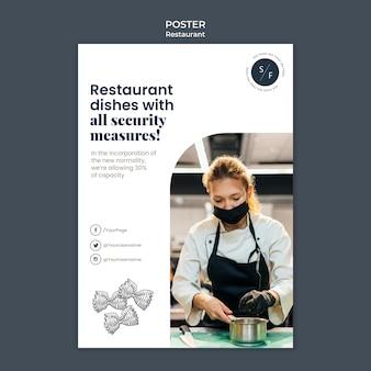 Restaurant poster beveiligingssjabloon