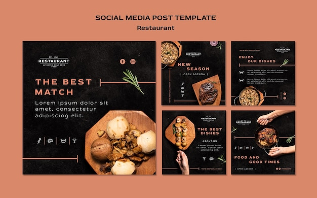 Restaurant promo social media postsjabloon