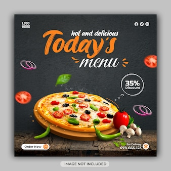 Restaurant promotiona food menu vierkante social media flyer-sjabloon