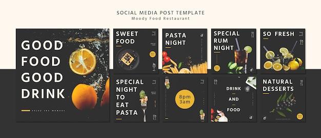 Restaurant sociale media post sjabloon