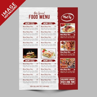 Restaurant speciaal eten menu