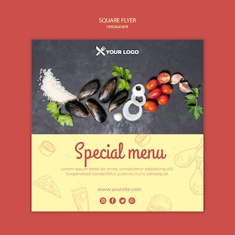 Restaurant speciaal menu vierkante flyer