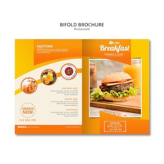 Restaurant tweevoudige brochure sjabloon