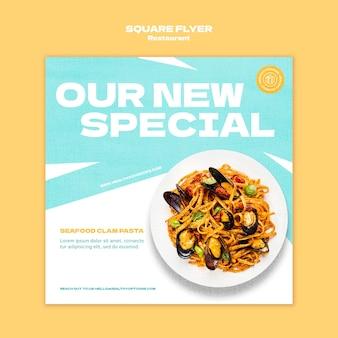 Restaurant vierkante flyer-sjabloon