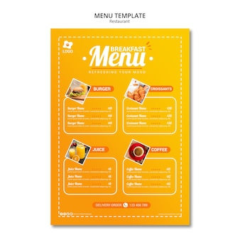 Restaurante atractivo menú plantilla en línea
