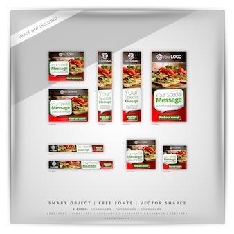Restaurante y comida google banner set