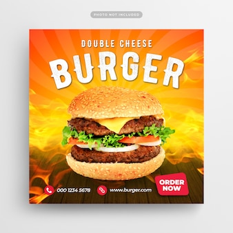 Restaurante de comida rápida burger publicación en redes sociales y banner web
