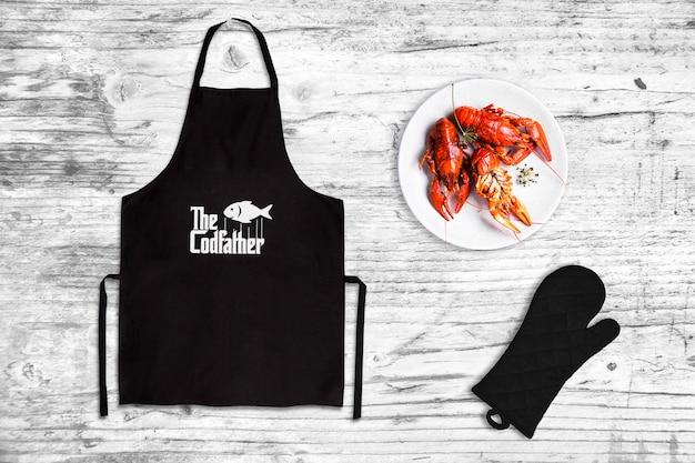 Restaurante de mariscos delantal maqueta