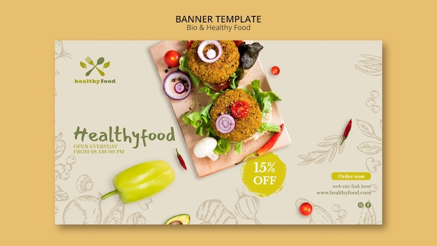 Restaurante con plantilla de banner de comida saludable