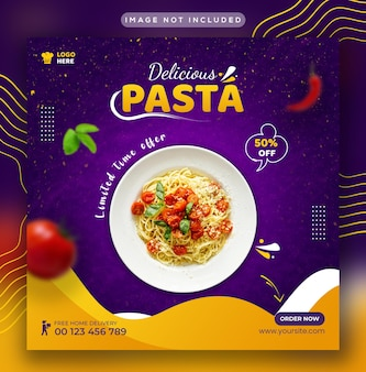 Restaurantmenu en heerlijke pasta social media instagram post en webbannersjabloon
