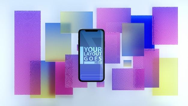 Resumen de teléfono móvil sobre vidrio de fondo