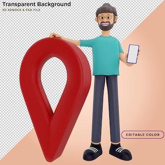 Retrato de un guapo personaje de dibujos animados con teléfono y pin. concepto de gps. ilustración 3d