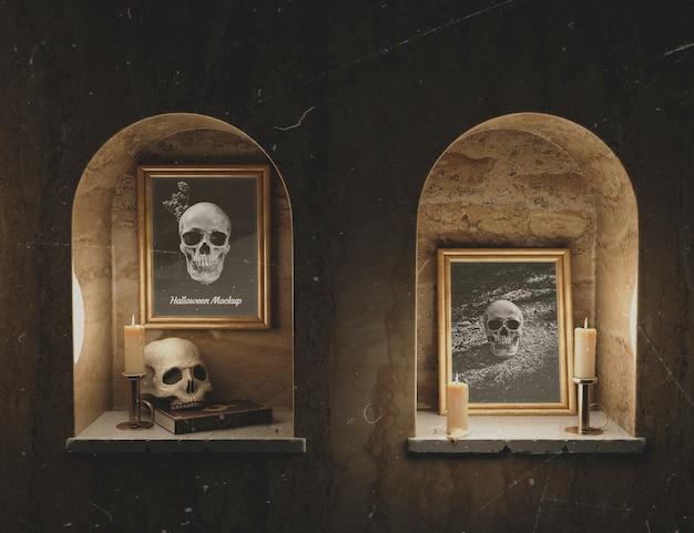 Retratos de calaveras de terror góticas en marcos de maquetas