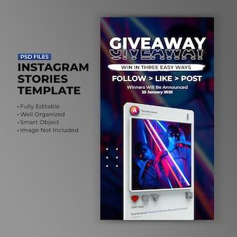 Retro 3d minimalistische instagram-weggeefpromotiesjabloon