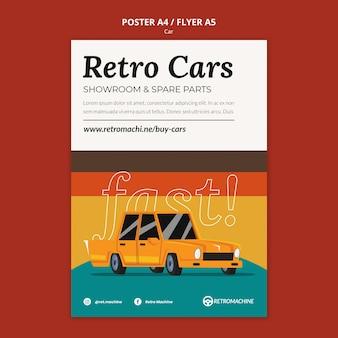 Retro auto's showroom en reserveonderdelen poster sjabloon