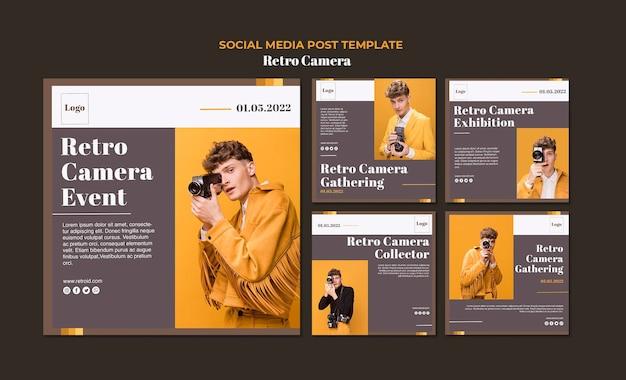 Retro camera concept sociale media post