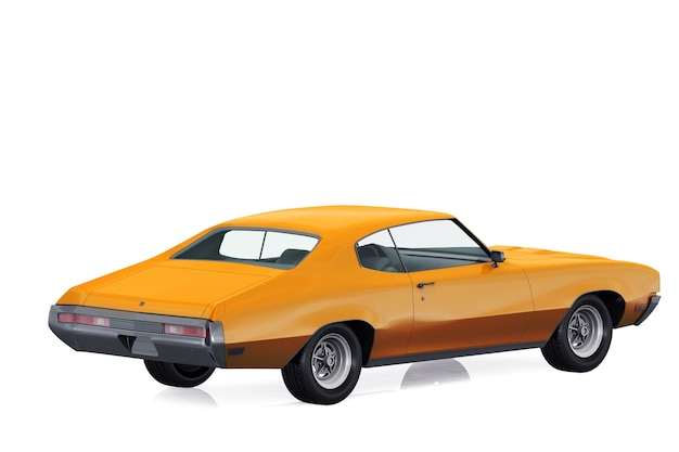 Retro coupé auto 1970 mockup