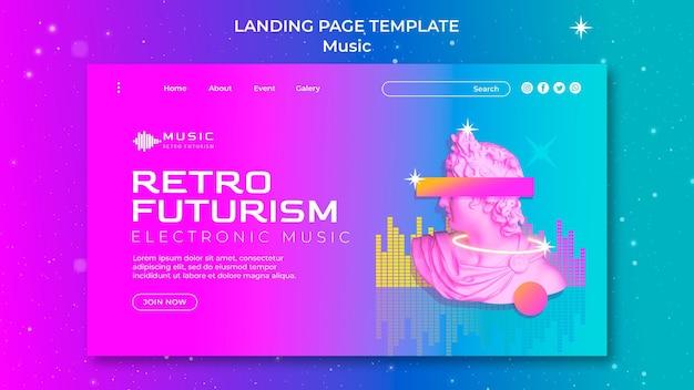 Retro futuristische bestemmingspaginasjabloon voor muziekfeest