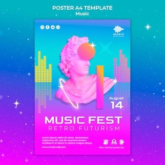 Retro futuristische verticale postersjabloon voor muziekfeest