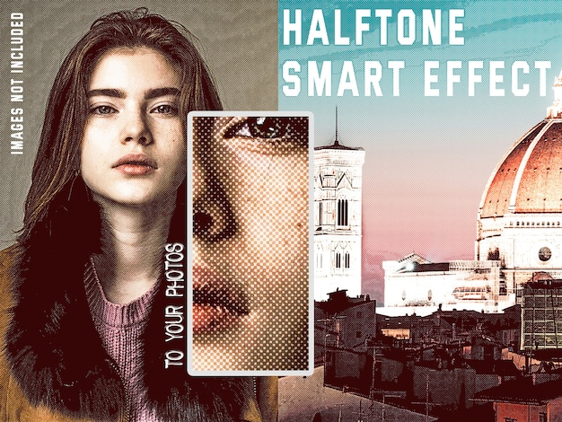 Retro halftone smart effect-collectie