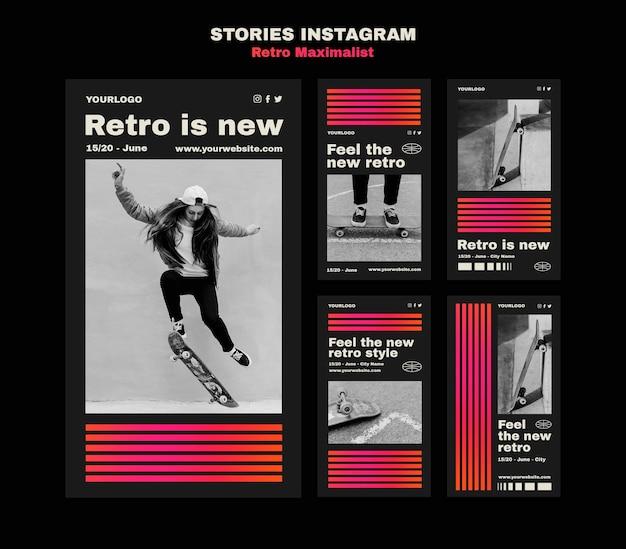Retro maximalistische verhalen op sociale media