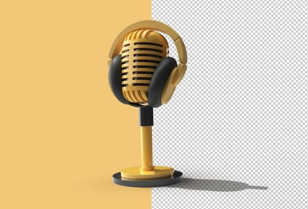 Retro microfoon op korte poot en standaard met koptelefoon transparant psd bestand.