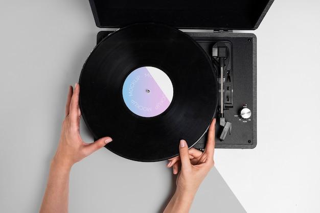 Retro mock-up vinyl schijf abstracte verpakking
