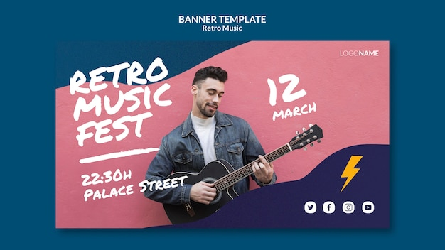 Retro muziek banner sjabloonontwerp