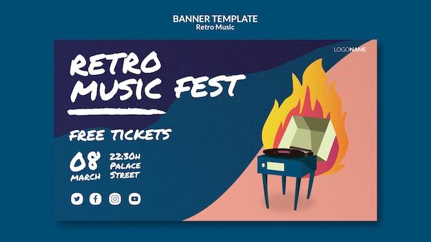 Retro muziek horizontale banner
