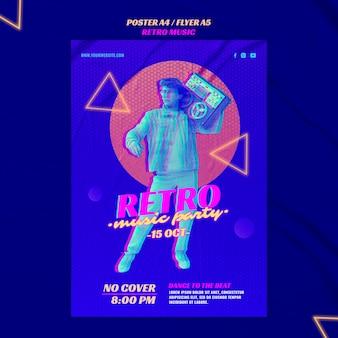 Retro muziek partij poster sjabloon
